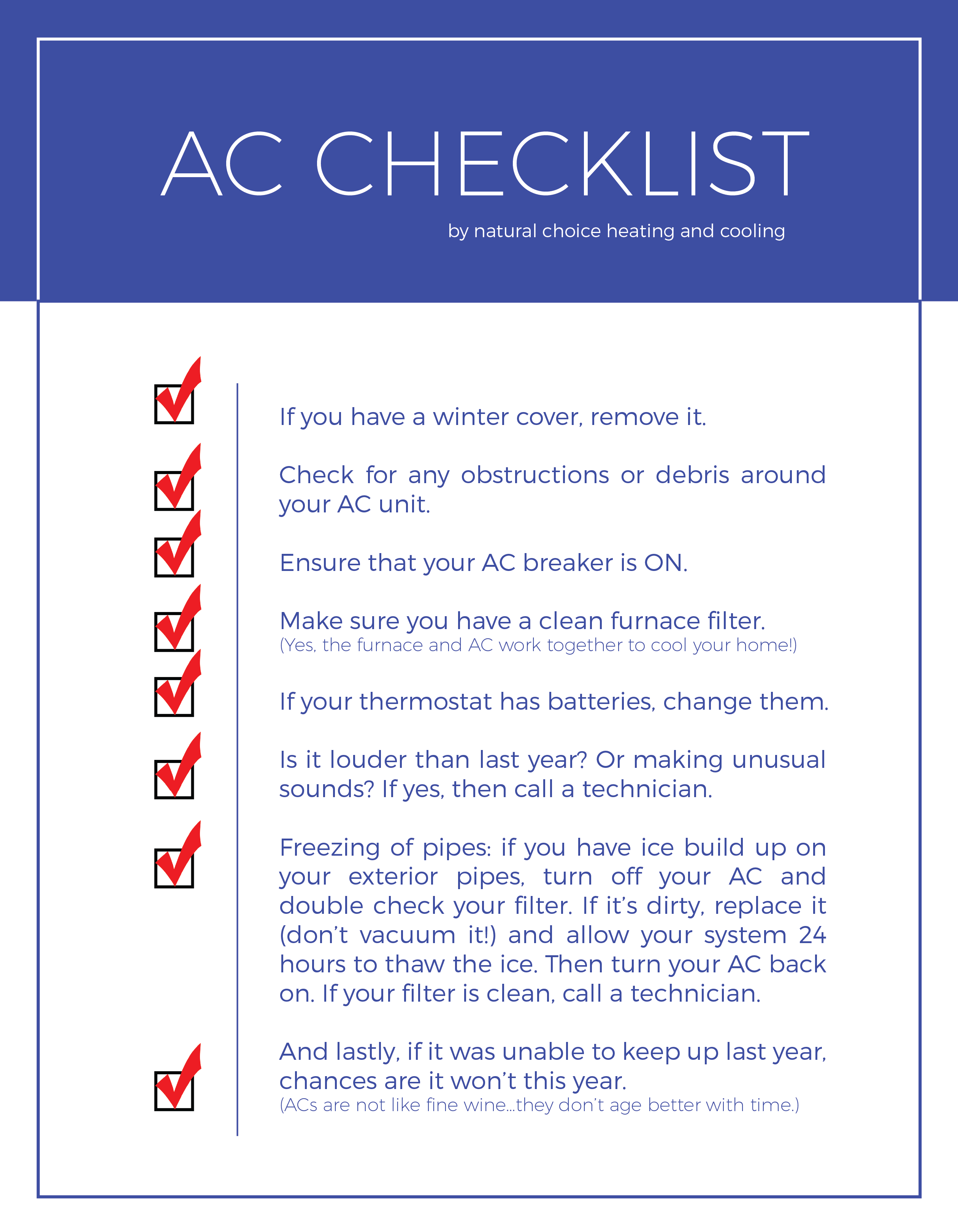 Your Ac Checklist Natural Choice Heating Amp Cooling Inc