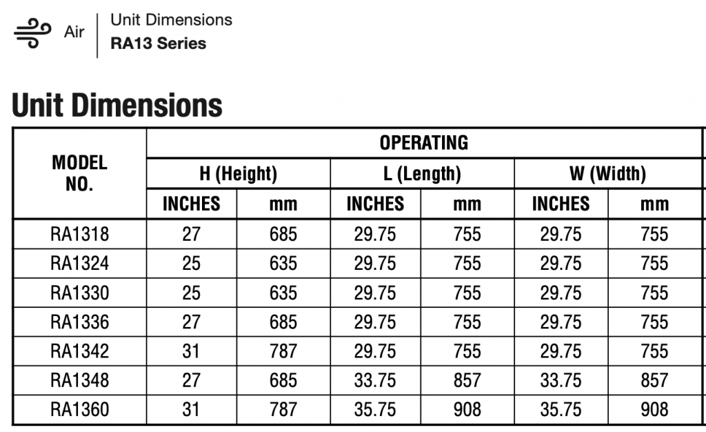 Rheem RA13 Dimensions